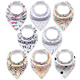 Baby Bandana Drool Bibs 8 Pack for Girls with Snaps Absorbent Organic Cotton Bibs for Drooling Newborn Toddler Baby Shower Gift