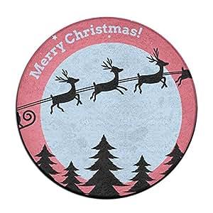 longmiz Papá Noel Noche Circular entrada Felpudo para interiores entrada alfombra