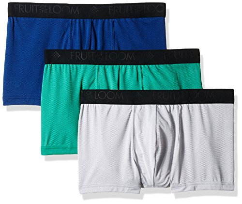 Fruit of the Loom Men's 3pk Breathable Lightweight Micro-mesh Short Leg Boxer Brief, assorted, Large (Fruit Of The Loom Breathable Micro Mesh Mens)
