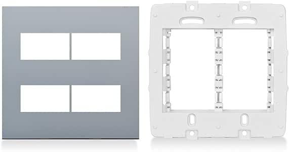 Placa 2+2 Módulos Separados + Suporte 4x4 Cromado Sophie Steck Branco