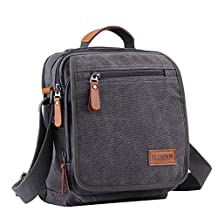 Messenger bag canvas small mens shoulder bag casual mini satchel (Grey)