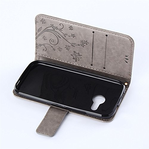 COOLKE Retro Mariposas Patrón PU Leather Wallet With Card Pouch Stand de protección Funda Carcasa Cuero Tapa Case Cover para HTC One mini 2 - marrón Gris