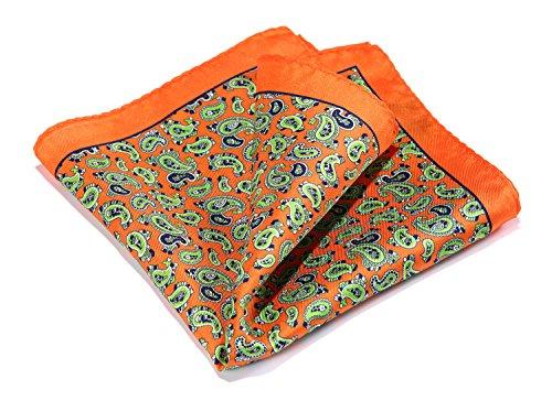 Mens Accessories Silk - HISDERN Paisley Floral 100% Natural Silk Printed Pocket Square Mens Fashion Classic Handkerchief
