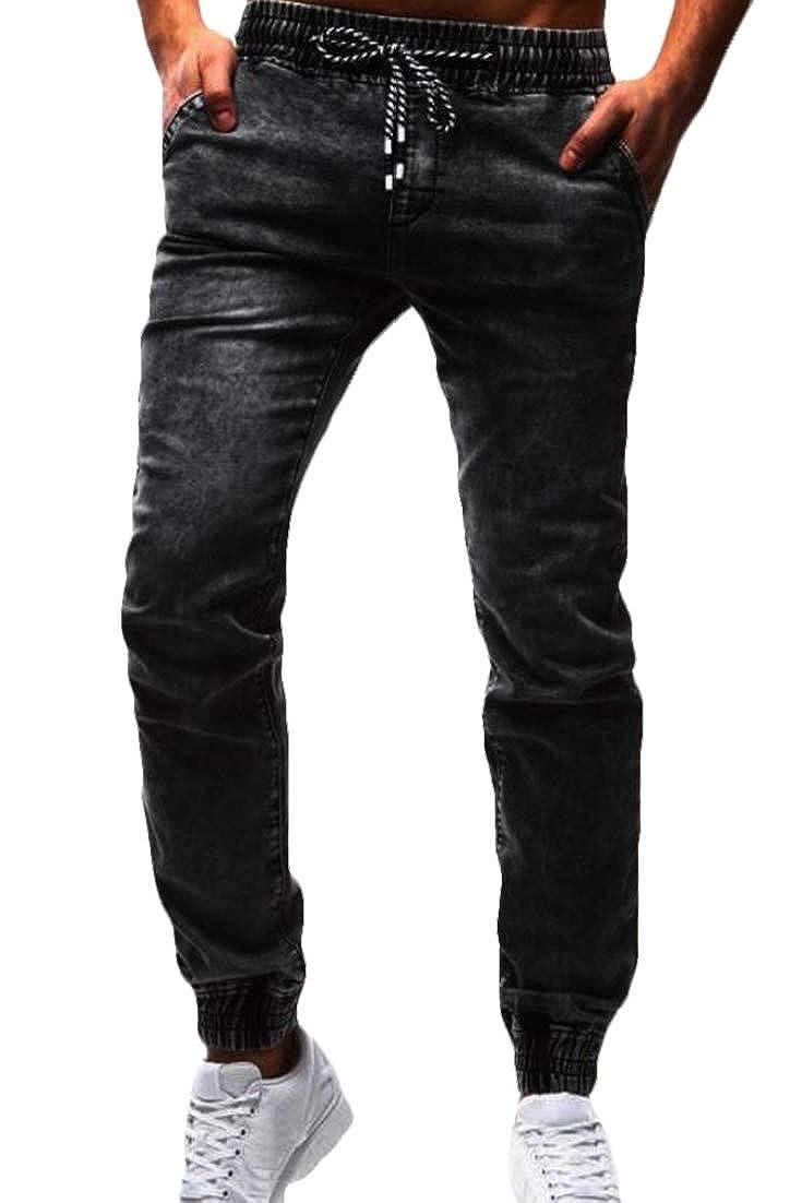 Fllay Mens Washed Basic Drawstring Jogger Elastic Waist Denim Long Pants