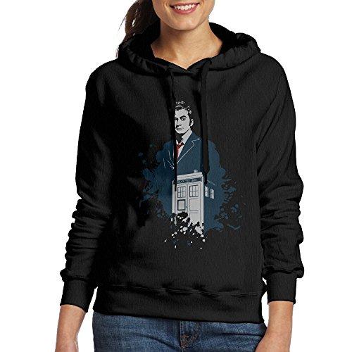 [Bekey Women's Doctor Who David Tennant Hoodie Jacket XL Black] (David Tennant Who Costume)