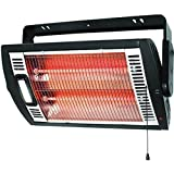 Electric Halogen Lights Ceiling or Wall-Mount 1200 Watt Black Utility Heater