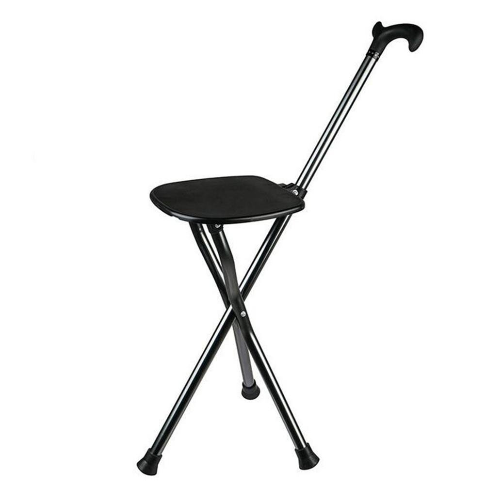W-ONLY YOU-J Cane Stool Foldable Elderly Crutches Stool Sturdy Tripod Multi-Purpose Combo Elderly Walking Abseiling Bench Stool Gift