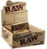 Raw Natural Hemp & Cotton Rolling Wide Tips (Pack of 50tips) Full Sealed Box
