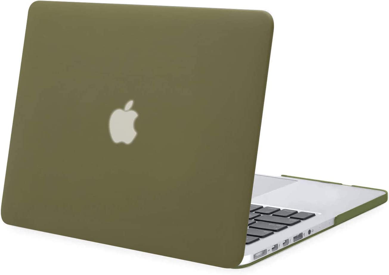 MOSISO Plastic Hard Shell Case Cover Only Compatible with Older Version MacBook Pro Retina 13 Inch (Models: A1502 & A1425) (Release 2015 - end 2012), Capulet Olive