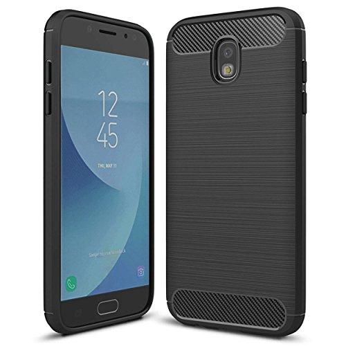 Galaxy J3 2018 Case, J3 Eclipse 2/J3 V 3rd Gen/J3 Achieve/J3 Express Prime 3/J3 Star/Amp Prime 3 Case, Yuanming [Shock Resistant] Carbon Fiber Soft TPU Phone Case for Samsung Galaxy J3 2018 (Black)