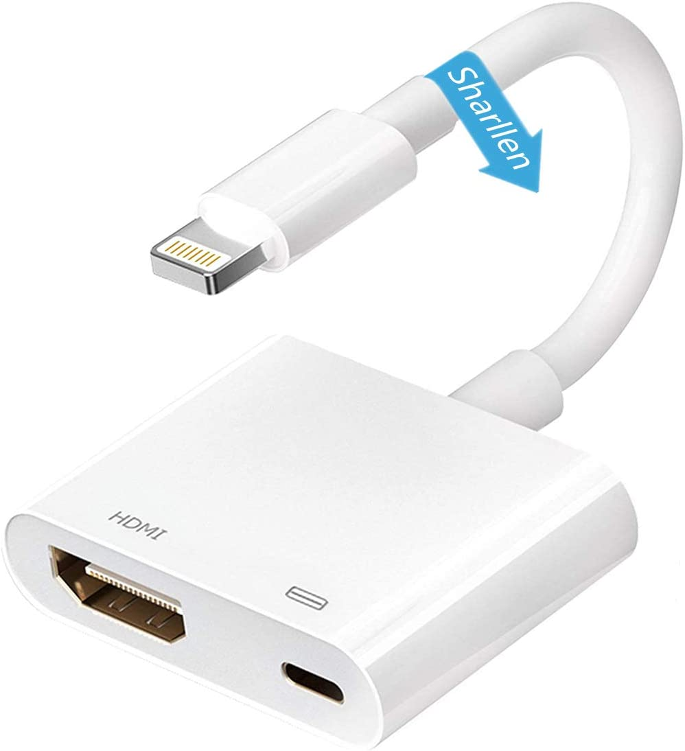 Sharllen[MFi Certified]Lightning to HDMI Adapter Upgraded iPhone 1080P AV 4K Screen Connector Converter with Charging Charger Cable Cord Compatible iPhone12 11 X 8 7,iPad Monitor HDTV Projector White