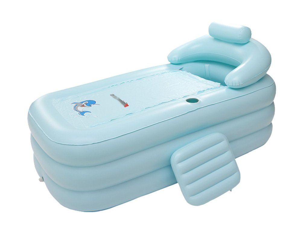 Inflatable Bathtub, Folding Bathtub Portable Adult Bathtub Double Curved Portable Plastic Swimming Pool, Bathtub (Color : Light blue)
