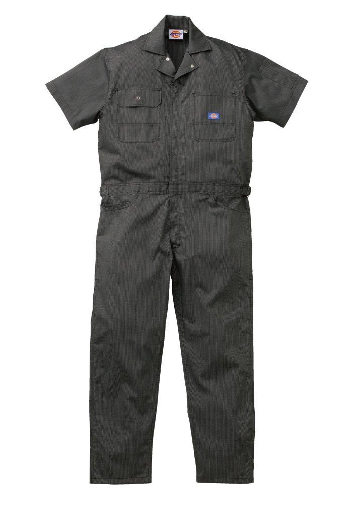 [ディッキーズ]Dickise【ツナギ服】春夏半袖ストライプツヅキ服シンプルでスタイリッシュ《059-21-713》 B01845G6PU 4L|BC ブラック
