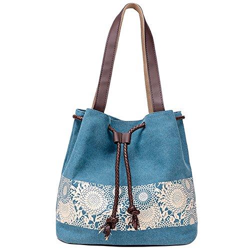 Hiigoo Printing Canvas Shoulder Bag Retro Casual Handbags Messenger Bags (Blue)
