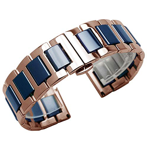 - Blue Ceramic Watch Strap 22mm Watch Bands for Men - Rose Gold Stainless Steel Watch Bracelet Replacement Strap