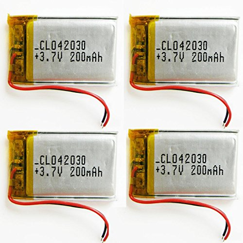 FidgetFidget 4 pcs 3.7V 200mAh Lipo Polymer Rechargeable Battery 402030 For Bluetooth GPS MP3