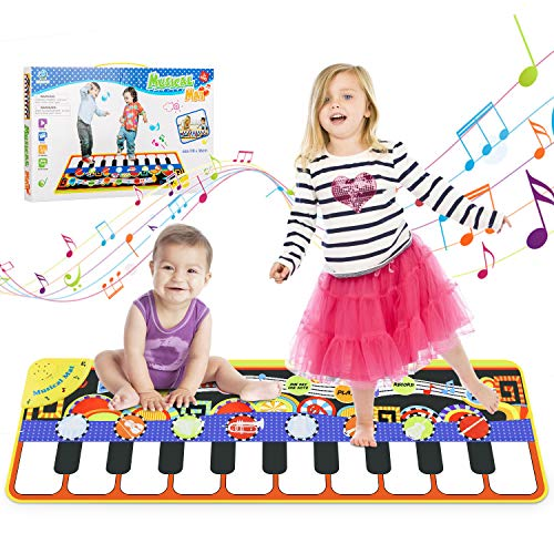 WOSTOO Music Mat, 19 Keyboard PlayMat Piano Mat Dance Floor Mat with 8 Selectable Musical Instruments Early Education…