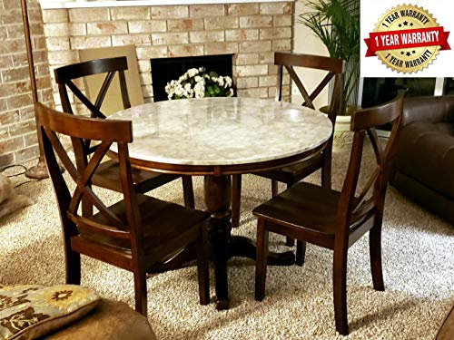 Harper&Bright Designs 5 Piece Round Dining Set with 4 Chairs Wood Dining Table Set (Espresso) (Sets Round Dining Table)