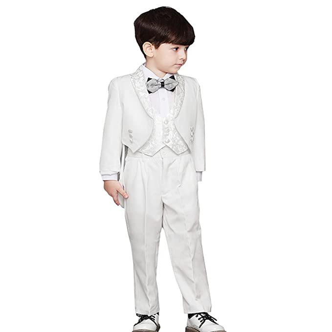 Kids 1950s Clothing & Costumes: Girls, Boys, Toddlers Fenghuavip Elegant White 5 Pieces Swallow-tailed Tuxedo Suits  AT vintagedancer.com
