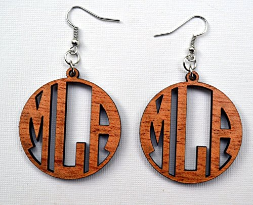 monogram-earrings-in-solid-mahogany-wood-personalized