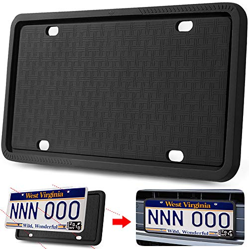 Manelord License Plate Frame - Silicone Version License Plate Frame with Anti-Impact, Waterproof, Shockproof for Automotive License Plate (License Plate Frame Front)