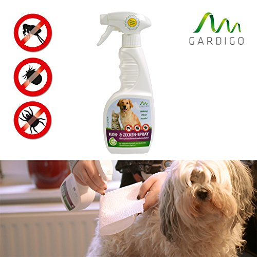Gardigo Floh- und Zeckenspray 100% pflanzlicher Zeckenschutz, 350 ml - Parasitenschutz für Haustiere mit Wirkstoffen aus der Natur