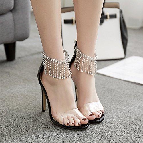 Zyqme Mariage Noir Bout Glands Strass Sandales Talons Chaussures Dames De Femme Stiletto Ouvert Soirée Cheville Hauts 6Ag6nFr4q