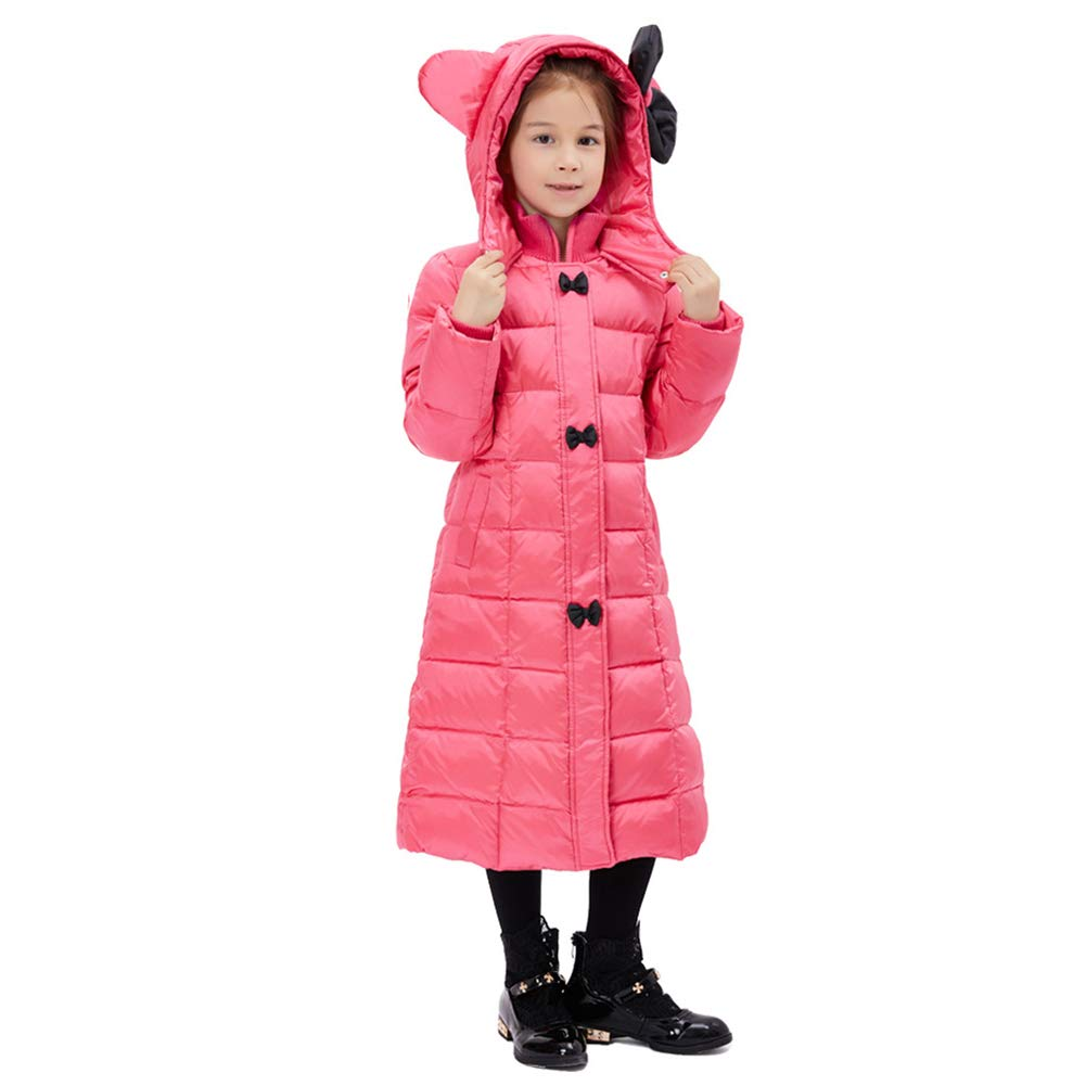 JRLGD Girl Winter Cartoon Jacket Child Slim Over The Knee Long Down Jacket, Rose Red, 120 cm=47.24 Inch