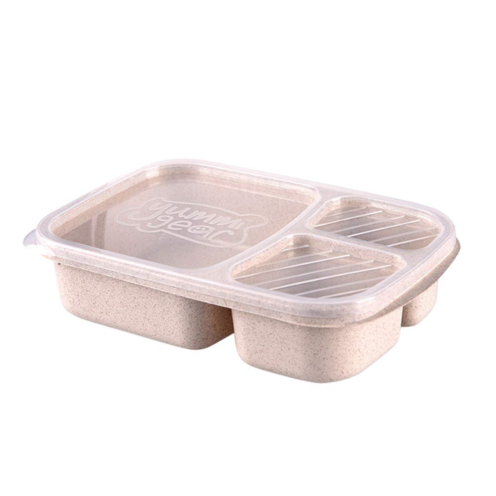Lunch Bento Box,3 Compartment Lunch Box Container Portable(Beige)