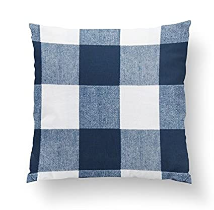 amazon com twig bird navy blue buffalo plaid throw pillow cover
