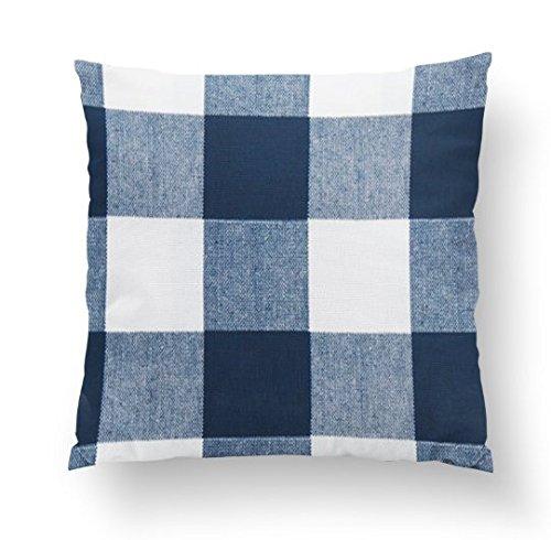 Twig + Bird Navy Blue Buffalo Plaid Throw Pillow Cover size