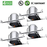 Sunco Lighting 4 Pack 6 Inch New Construction LED Light Can Air Tight IC Housing, Recessed Lights, LED Downlight, For Retrofit Kit, Electrician Prefered - UL Listed and Title 24 Certified (TP24)