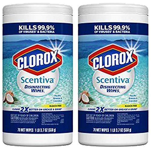 Clorox Scentiva Disinfecting Wipes, Pacific Breeze & Coconut - 70 Count (31767) (.2 Pack(70 Count))