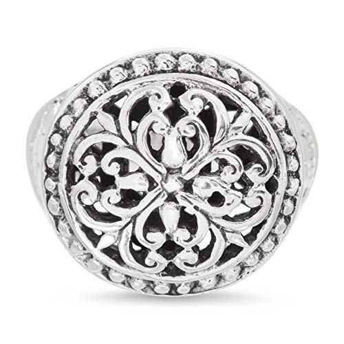 (Willowbird Rhodium Plated Sterling Silver Floral Scroll Beaded Edge Ring for Women (Size 7))