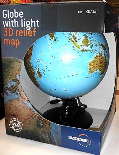 Globus beleuchtet 30 cm Kartographie A Relief mit Licht Tischleuchte