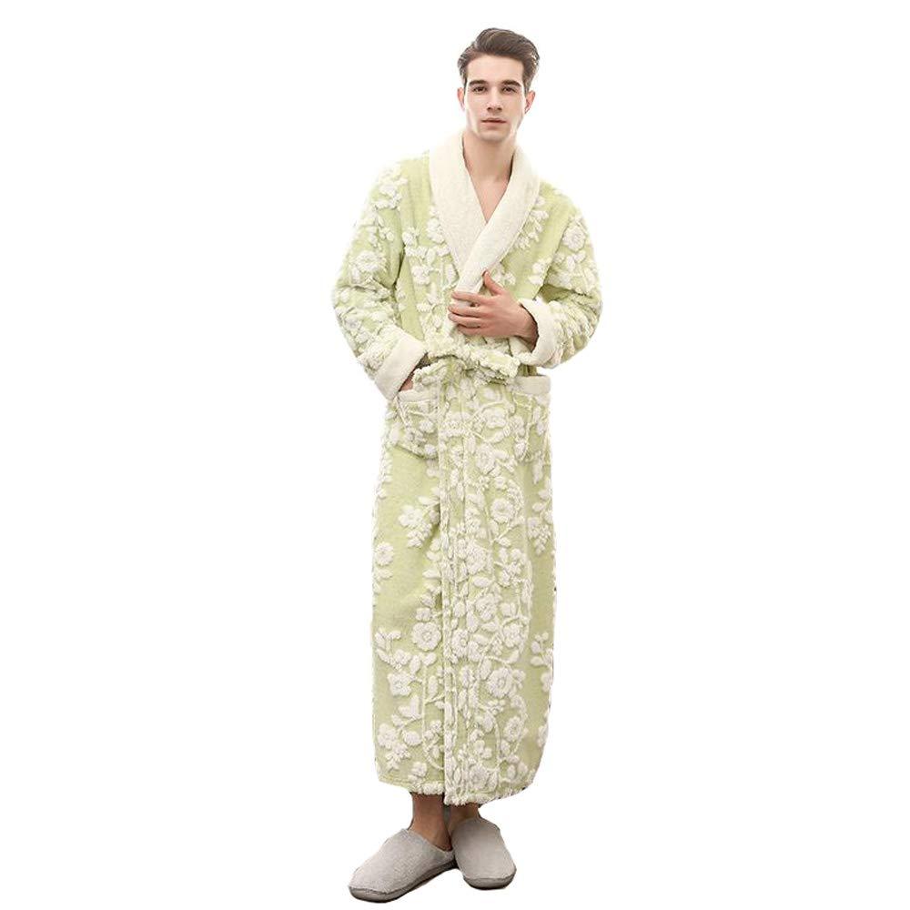 BCL-Pajamas Mens Creative Bathrobe Lounge Wear Cotton Dressing Gown Long Length Warm Robe (Color : A, Size : M)