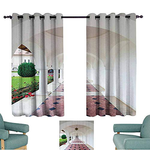 "Mannwarehouse Apartment Decor Bedroom windproofcurtain Dome Arched Colonnade Hallway at Sambata De Sus Monastery in Transylvania Romania 70%-80% Light Shading, 2 Panels,55"" Wx39 L White Green"