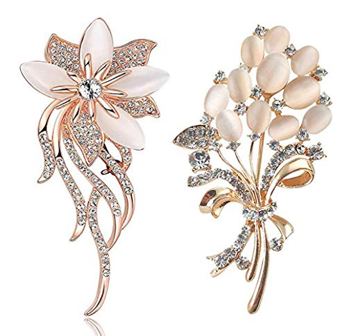 VIEEL 2 Pack Floral Brooch Wedding Bouquets with Beautiful Created Cat's Eye for Elegant Women -Light Beige (Light Beige)