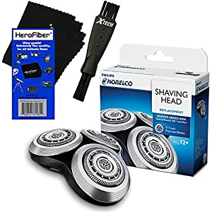 Philips Norelco HQ8 Dual Precision Replacement Heads for PT Series, AT Series, 7000 Series & 8000 Series Electric Shavers + Double Ended Shaver Brush + HeroFiber Ultra Gentle Cleaning Cloth