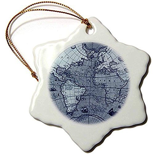 Ditooms Vintage Globe World MapSnowflake Ornament Porcelain 3inch