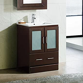 "24"" Bathroom Vanity Cabinet Ceramic Top Sink MCT: Amazon"