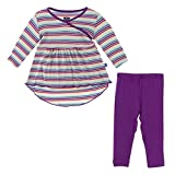 KicKee Pants Little Girls Long Sleeve Hi Lo Tee and Legging Outfit Set, Girl Perth Stripe, 4T