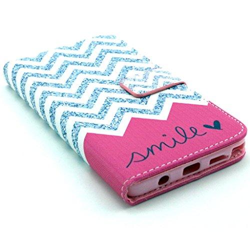 Uming Pattern Print PU La caja del teléfono Funda protectora para Samsung Galaxy S3 I9300 patrones de dibujo Impresión colorida del tirón Funda con ranura soporte Stander del sostenedor de la mano la  Pink wave