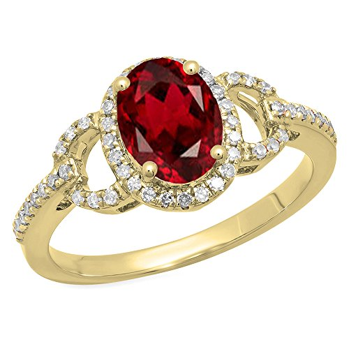 Dazzlingrock Collection 14K 8X6 MM Each Oval Garnet & Round Diamond Ladies Halo Engagement Ring, Yellow Gold, Size 7.5 - Gold Natural Garnet Ring 14k