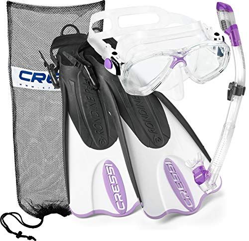 Cressi Palau Mask Fin Snorkel Set with Snorkeling Gear Bag, Lilac, S/M | (Men