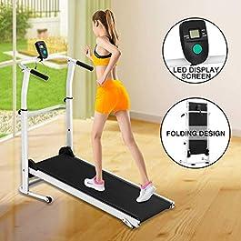 Fitnessclub Folding Manual Treadmill Walking Machine Incline...