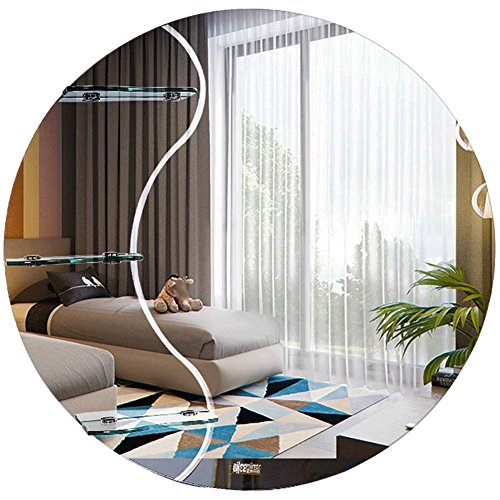 WZH Mirror Bathroom Wall-Mounted Hanging Makeup Dressing with Shelf Frameless Round Simple -