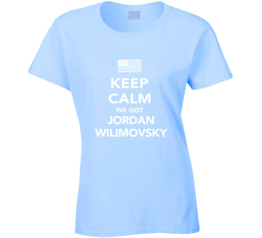 Jordan Wilimovsky Keep Calm 2016 Olympics Basketball Ladies T Shirt 2XL Light Blue