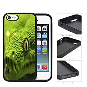 Green Tree Python Snake Eye And Scales Close-up Rubber Silicone TPU Cell Phone Case Apple iPhone 5 5s