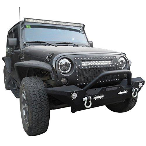 19fc3ba21b Goplus Front Bumper For 2007-2016 Jeep Wrangler JK With Hooks & Fog Light  Hole
